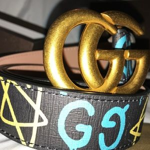 "Gucci Belt Black W/ Gold GG Buckle size ""43-44"""